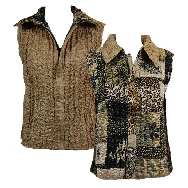 Quilted Reversible Vests Patchwork Jungle reverses to Solid Champagne - XL-2X