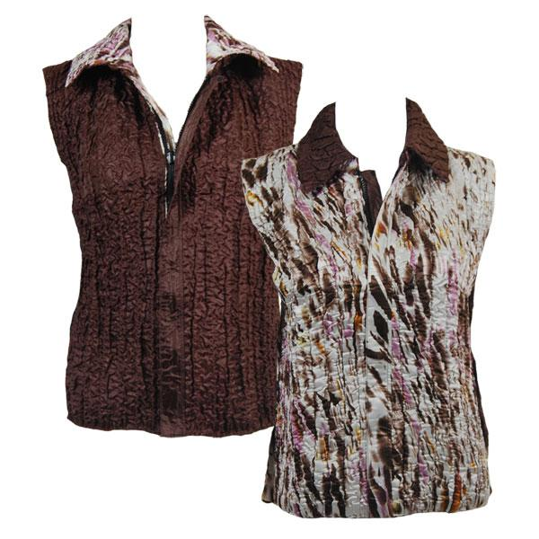 Quilted Reversible Vests Ivory-Brown-Pink Splash reverses to Solid Brown - XL-2X