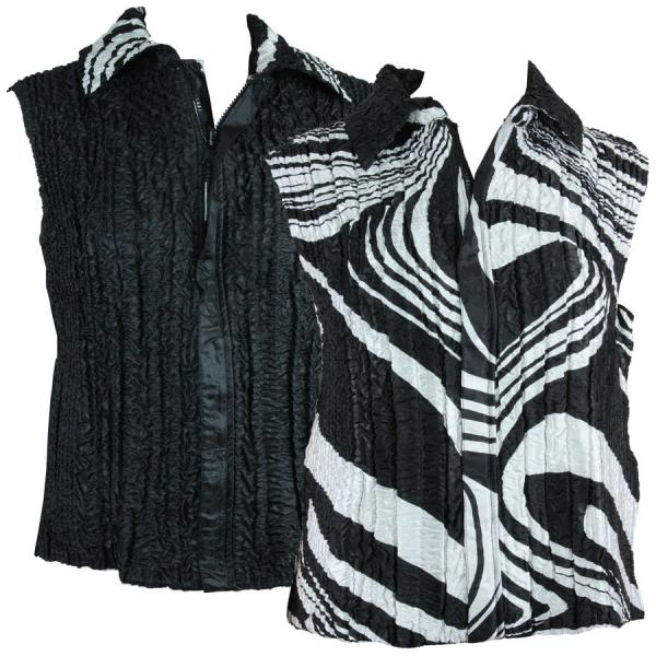 Quilted Reversible Vests Swirl Black-White reverses to Solid Black - S-L