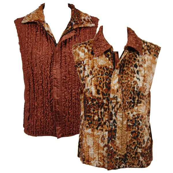 Quilted Reversible Vests Golden Leopard reverses to Solid Brass - XL-2X