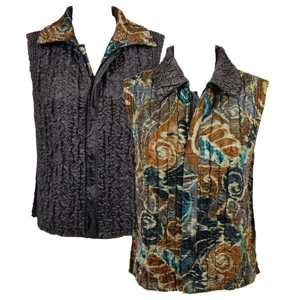 Quilted Reversible Vests Charcoal-Taupe Swirl reverses to Solid Charcoal - S-L