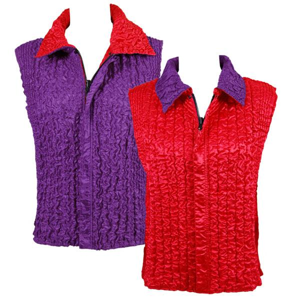 Quilted Reversible Vests Solid Red reverses to Solid Purple - XL-2X