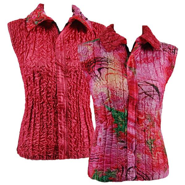 Quilted Reversible Vests Abstract Pink-Red reverses to Solid Coral - S-L