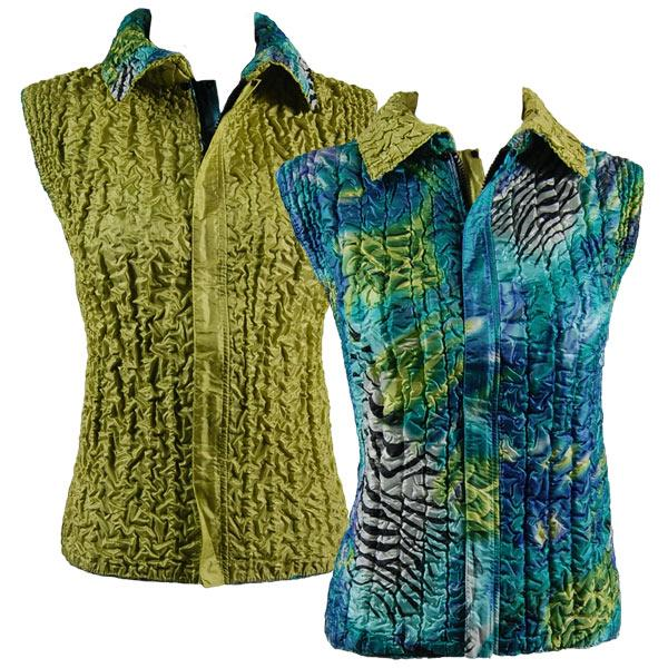 Quilted Reversible Vests Abstract Zebra Blue-Green reverses to Solid Leaf Green - XL-2X