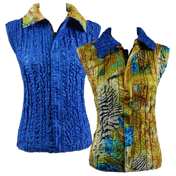 Quilted Reversible Vests Abstract Zebra Gold-Blue reverses to Solid Royal - S-L