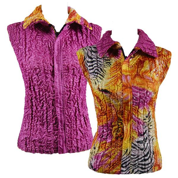 Quilted Reversible Vests Abstract Zebra Orange-Pink reverses to Solid Orchid - XL-2X