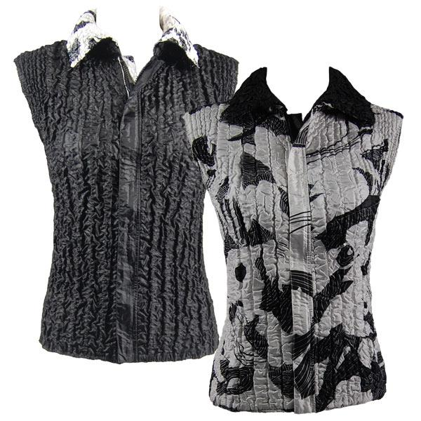 Quilted Reversible Vests African White-Black reverses to Solid Black - XL-2X