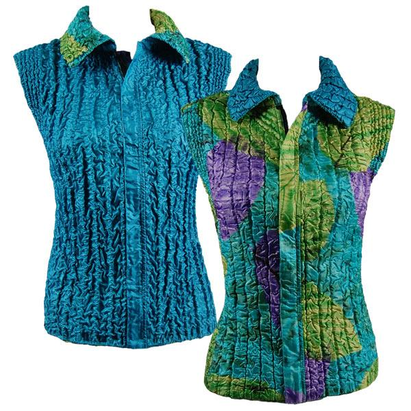 Quilted Reversible Vests Leaves Green-Violet-Teal reverses to Solid Light Teal - XL-2X