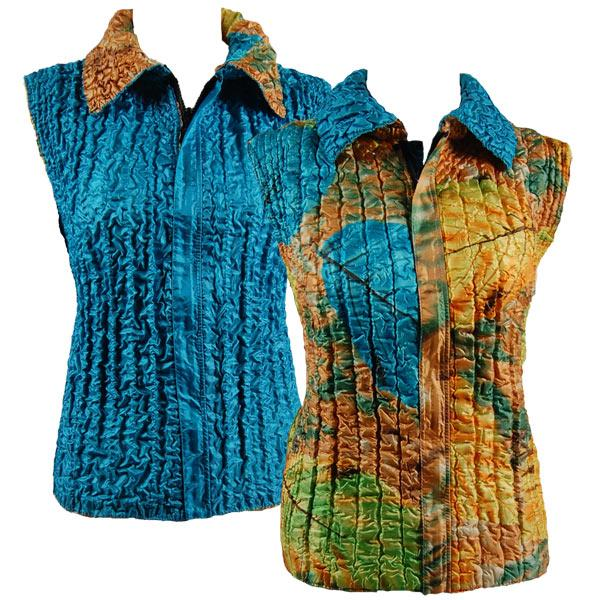 Quilted Reversible Vests Leaves Turquoise-Green-Copper reverses to Solid Turquoise - XL-2X
