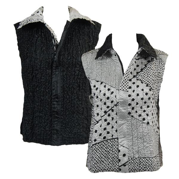 Quilted Reversible Vests Multi Dots White-Black reverses to Solid Black - XL-2X