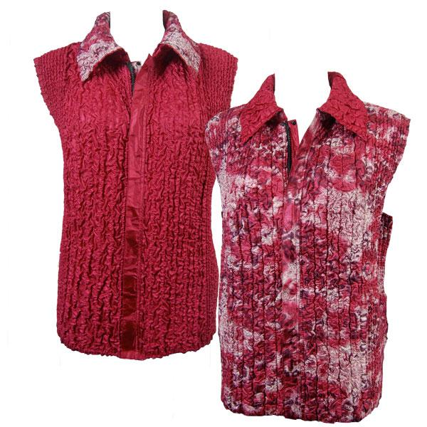 Quilted Reversible Vests Leopard Print - Wine reverses to Solid Burgundy - S-L