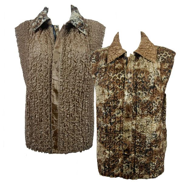 Quilted Reversible Vests Leopard Print - Java reverses to Solid Bronze - S-L