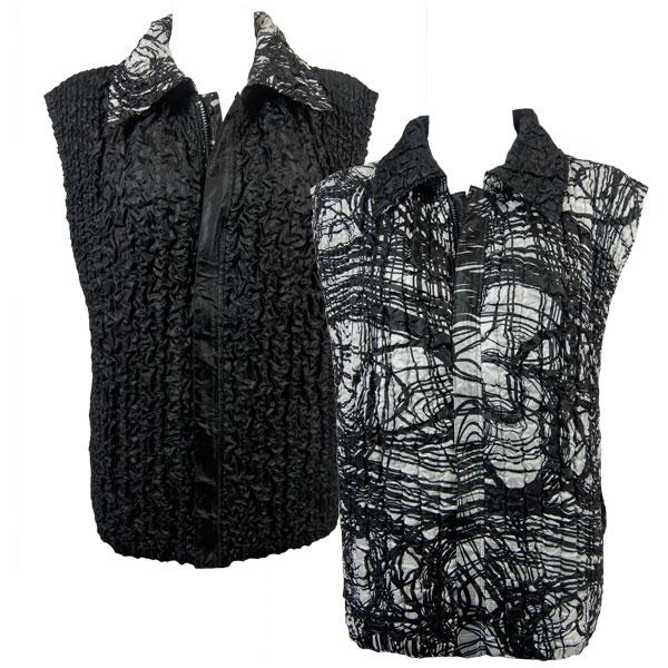 Quilted Reversible Vests Linear Black-White reverses to Solid Black - S-L