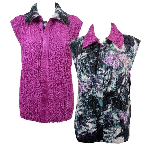 Quilted Reversible Vests Pink-Grey Floral reverses to Solid Orchid - S-L