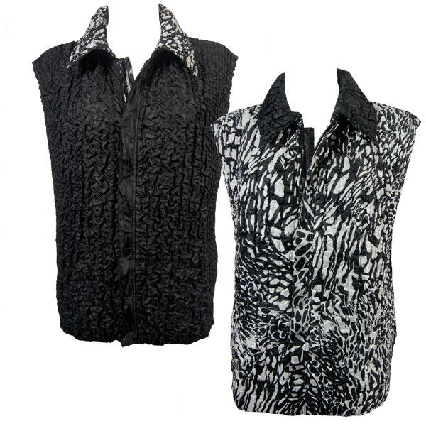 Quilted Reversible Vests Animal Print Black-White reverses to Solid Black - S-L