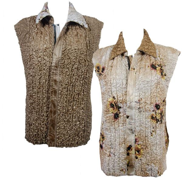Quilted Reversible Vests Beige Floral reverses to Solid Bronze - S-L