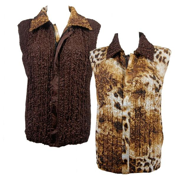 Quilted Reversible Vests Giraffe Brown reverses to Solid Brown - S-L