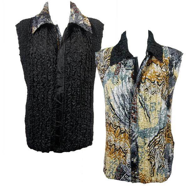 Quilted Reversible Vests Abstract Black-Gold reverses to Solid Black - S-L