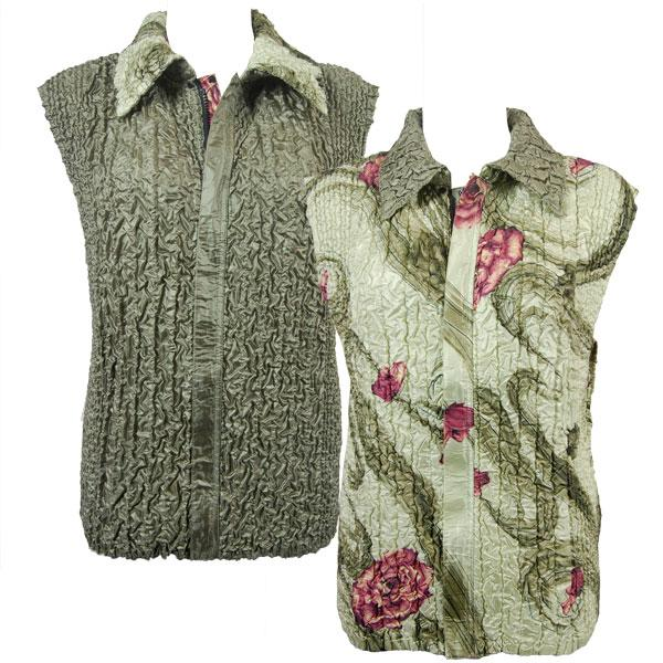 Quilted Reversible Vests Multi Green Floral reverses to Solid Olive - S-L