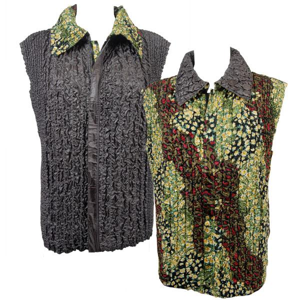 Quilted Reversible Vests Night Garden reverses to Solid Charcoal - S-L