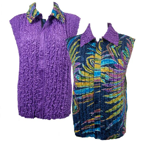 Quilted Reversible Vests Psychedelic Swirl reverses to Solid Purple - S-L