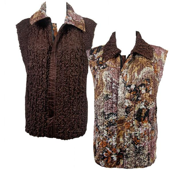 Quilted Reversible Vests Floral Jungle reverses to Solid Brown - XL-2X