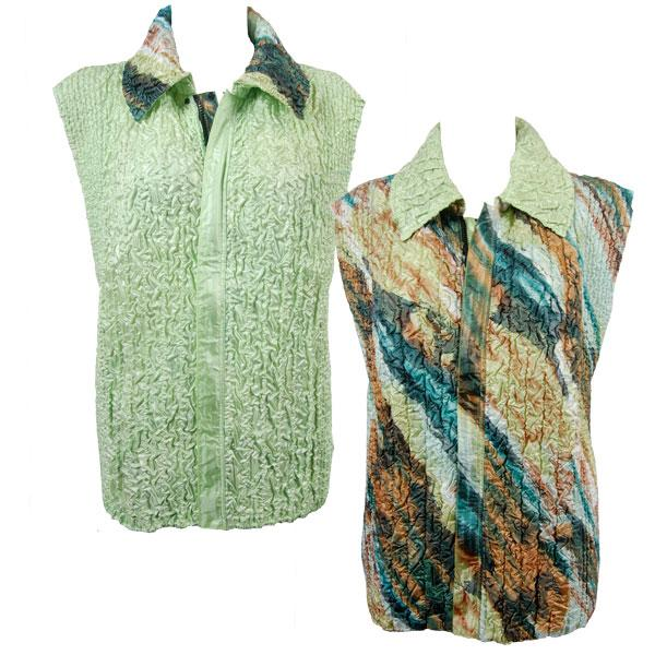 Quilted Reversible Vests Earthtone Abstract reverses to Solid Celery - XL-2X