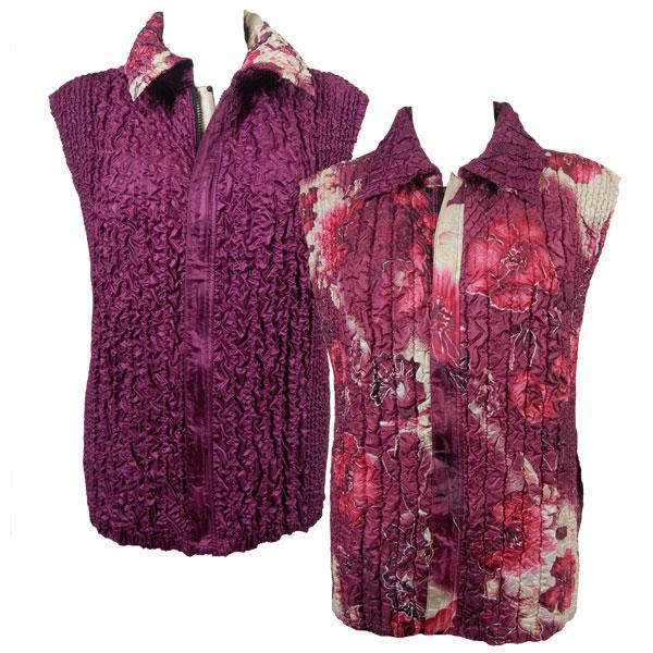 Quilted Reversible Vests Rose Floral - Berry reverses to Solid Berry - XL-2X