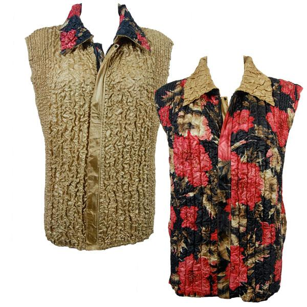 Quilted Reversible Vests Coral Blossoms on Black reverses to Solid Gold - S-L