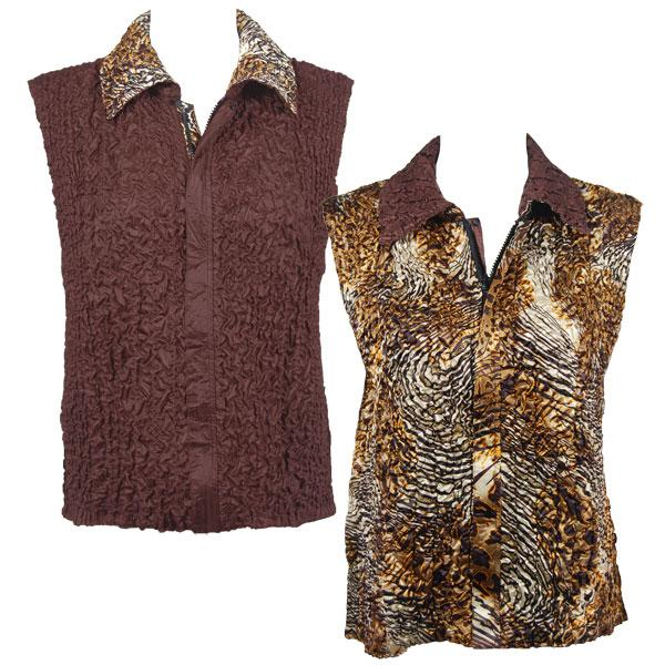 Quilted Reversible Vests Swirl Leopard reverses to Solid Brown - S-L