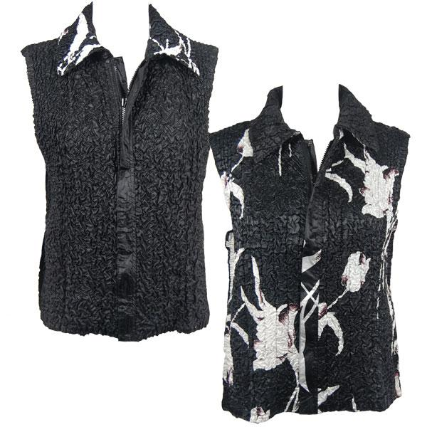Quilted Reversible Vests White Tulips on Black reverses to Solid Black - S-L