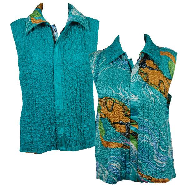Quilted Reversible Vests Swirl Aqua-Blue reverses to Solid Teal Green - S-L