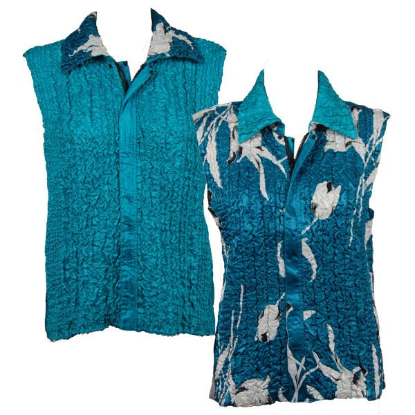 Quilted Reversible Vests White Tulips on Teal reverses to Solid Aqua - XL-2X