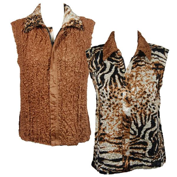 Quilted Reversible Vests Bronze Leopard reverses to Solid Bronze - S-L