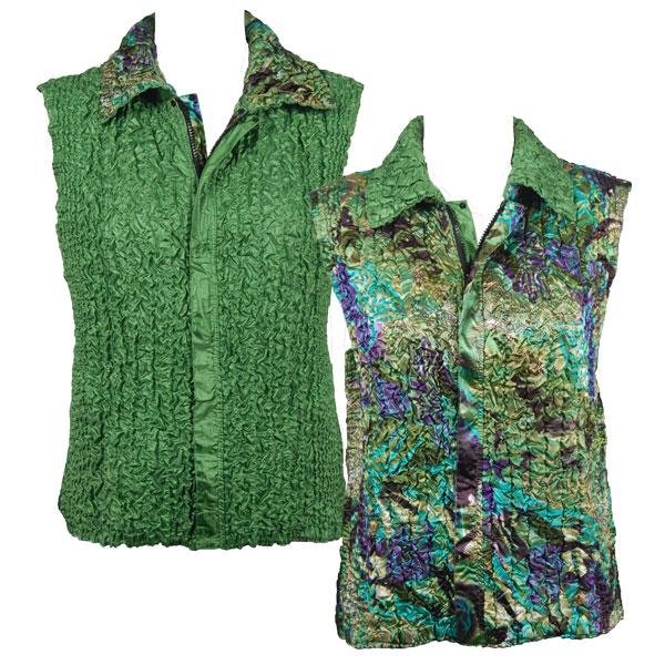 Quilted Reversible Vests Butterfly Floral Green-Purple reverses to Solid Green - S-L