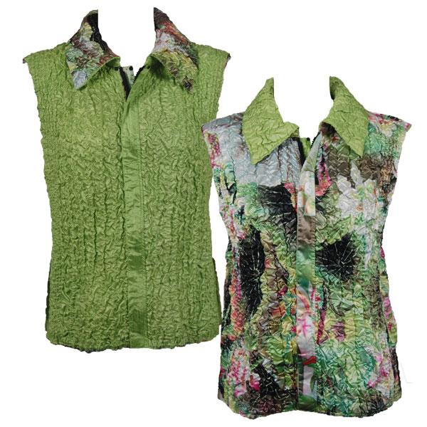 Quilted Reversible Vests Lime-Coral Floral reverses to Solid Lime - S-L