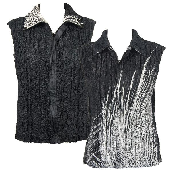 Quilted Reversible Vests Lines - White on Black reverses to Solid Black - XL-2X