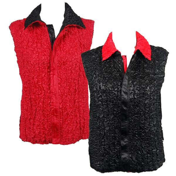 Quilted Reversible Vests Solid Black reverses to Solid Red - S-L