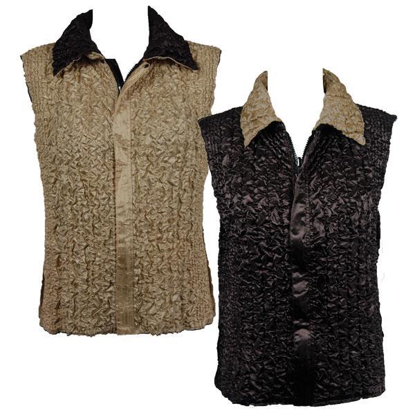 Quilted Reversible Vests Solid Dark Brown reverses to Solid Natural - S-L