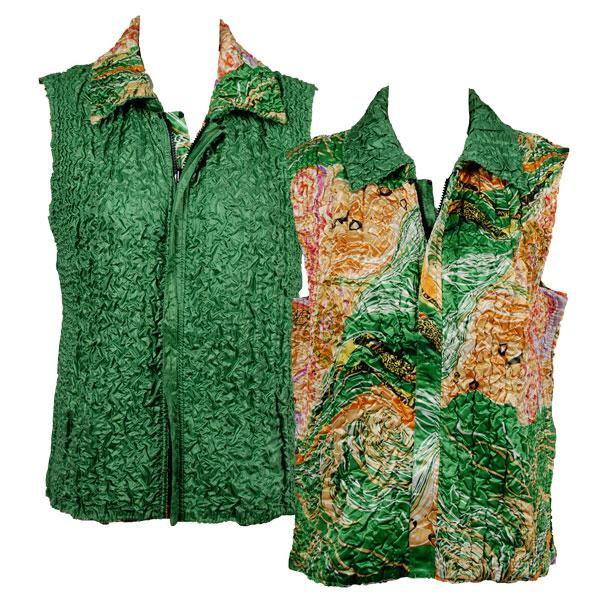 Quilted Reversible Vests Swirl Green-Gold reverses to Solid Green - S-L
