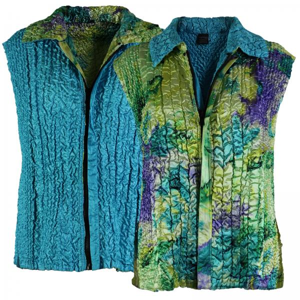 Quilted Reversible Vests Blue-Purple-Yellow Watercolors reverses to Solid Turquoise - S-L
