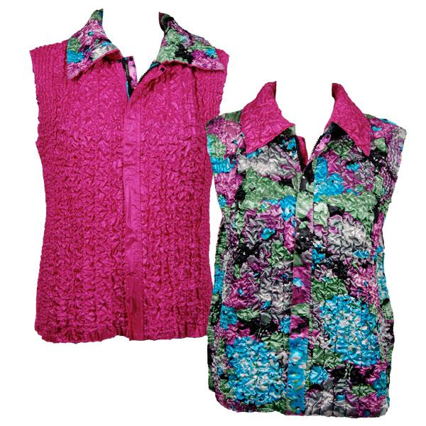 Quilted Reversible Vests Sky Blue-Coral Floral reverses to Solid Hot Pink - S-L