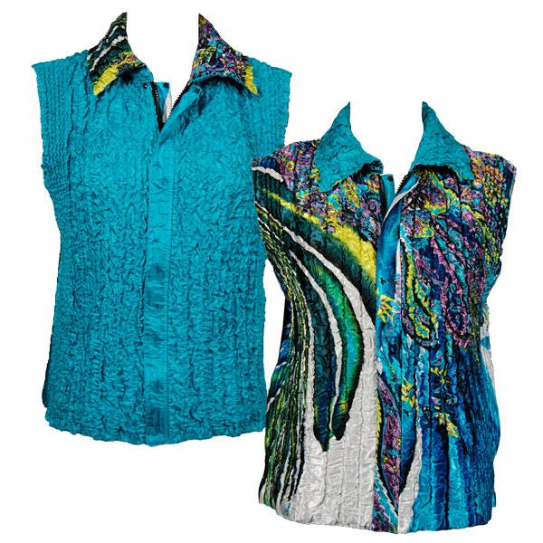 Quilted Reversible Vests Swirl Turquoise-White reverses to Solid Aqua - XL-2X