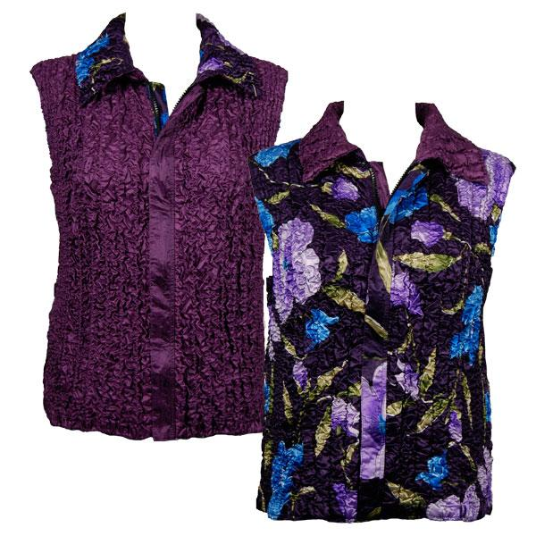 Quilted Reversible Vests Blue-Purple Floral on Eggplant reverses to Solid Eggplant - XL-2X