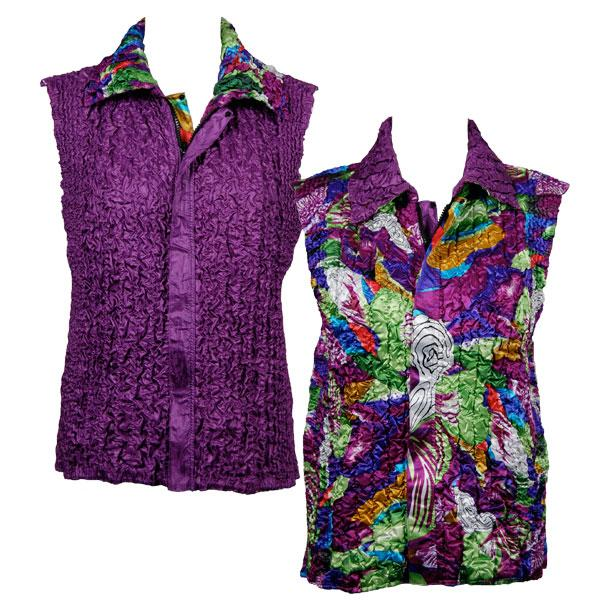 Quilted Reversible Vests Magenta Fantasy reverses to Solid Eggplant - XL-2X