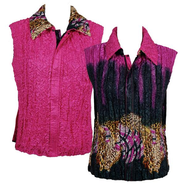 Quilted Reversible Vests Animal Border - Pink reverses to Solid Pink (MB) - S-L