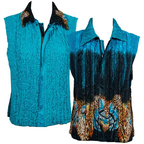 Quilted Reversible Vests Animal Border - Turquoise reverses to Solid Turquoise - S-L