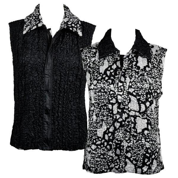 Quilted Reversible Vests Abstract Print Black-White reverses to Solid Black - XL-2X