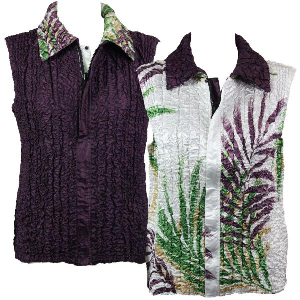 Quilted Reversible Vests Palm Leaf Green-Purple reverses to Solid Plum - S-L