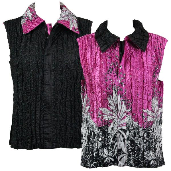Quilted Reversible Vests Flowers and Dots 2 Pink-White reverses to Solid Black - XL-2X